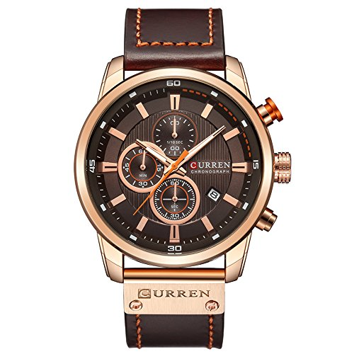 Men Leather Strap Military Watches Men's Chronograph Waterproof Sport Wrist Date Quartz Wristwatch Gifts (Gold Brown)