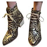 Olymmont Fashion Ankle Boots for Women Low Heel Women's Sexy Snakeskin Stacked Heeled Ankle Booties Pointed Toe Lace Up Stylish Dressy Short Boots Winter Warm Comfort Slouchy Dress Shoes for Party Club