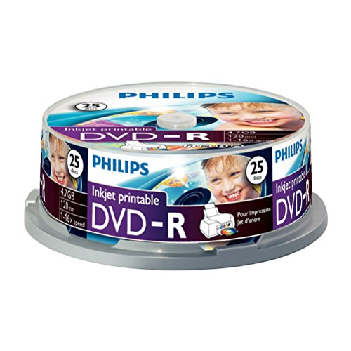 Philips DVD-R Rohlinge (4.7 GB Data/ 120 Minuten Video, 16x High Speed Aufnahme, 25er Spindel, inkjet printable)