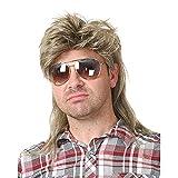 Peluca para hombre, peluca de salmonete rubia de los años 80, peluca larga de pelo sintético para hombre, Cosplay, fiesta de disfraces de Halloween