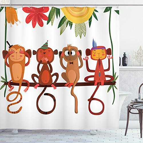 ABAKUHAUS AFFE Duschvorhang, Tiere sitzen AST, Wasser Blickdicht inkl.12 Ringe Langhaltig Bakterie & Schimmel Resistent, 175 x 220 cm, Weiß Braun