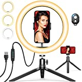 10' Selfie Ring Light with Tripod Stand & Phone Holder, GPEESTRAC Desk Beauty Circle LED Ringlight for Makeup Photography Live Steaming Camera Vlog YouTube Video, Compatible with iPhone & Android