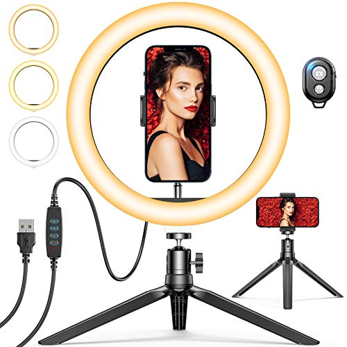 10' Selfie Ring Light with Tripod Stand & Phone Holder, GPEESTRAC Desk Beauty Circle LED Ringlight...