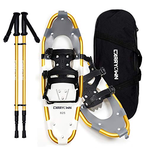 "Carryown Lightweight Snowshoes for Women Men Youth Kids, Aluminum Terrain Snow Shoes with Trekking Poles and Carrying Tote Bag,14""/21""/25""/30"""