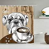 TONKSHA Duschvorhang,Brown Bulldog Cup Kaffee H& Tiere Old Cappuccino Wildlife Food Drink Restaurant Hot Bean Frühstück,personalisierte Deko Badezimmer Vorhang,mit Haken,180 * 210