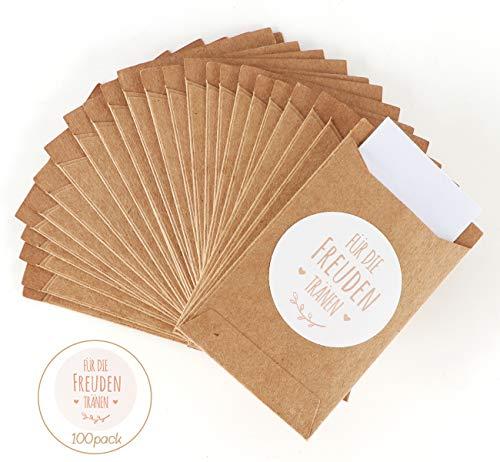 ABSOFINE 100 STK Mini Geschenktüten Freudentränen Geschenktüten Papiertüten Tüten Geschenk-Verpackung für Hochzeit Taschentücher Schmuck (Kraftpapier)