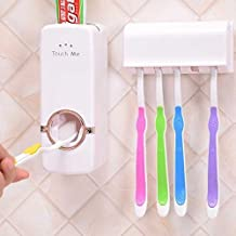 Wazdorf Dust-Proof Wall Mounted Automatic Toothpaste Dispenser and 5 Toothbrush Holder with Cover