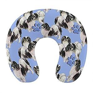 Almohada de Viaje de Espuma viscoelástica Suave, Almohada para el Cuello en Forma de U con Funda Lavable Que soporta el Cuello y Libera el Dolor, Perro Mascota japonés