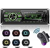 Autoradio Bluetooth Main Libre, Poste Stéréo Radio avec 2 Ports USB, 1 Din Radio Voiture, USB/TF/AUX/FM/MP3 Player, SWC Télécommande, 7 Couleurs d'éclairage, Affichage LCD (RK535)