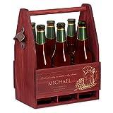 Murrano Bierträger für 6 Flaschen 0,5L + Gravur - Männerhandtasche mit Flaschenöffner - Größe: 25x17x32cm - aus Holz - Geburtstagsgeschenk für Männer (Wichtig mit WEM)