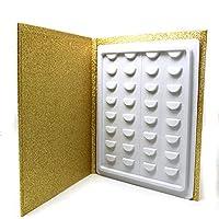 Lionina - 16 Pares de Fundas de pestañas, Soporte de extensión de pestañas, Travel Glitter patrón de Papel, Accesorio de Maquillaje catálogo, Dorado, Tamaño Libre