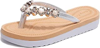 Women Slippers Summer Rhinestones with Soft and Thick (Color : Silver, Size : 36)
