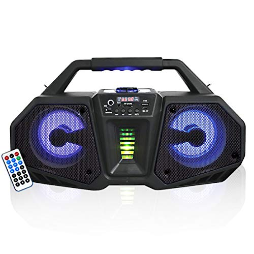 """AXESS Double 4"""" Media Player Speaker with Flashing LED Lights – HD Sound Heavy for Indoor and Outdoor Mic Input, USB, FM Radio and Micro SD Card Inputs Axess MPBT6506, Black"""