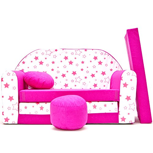 millybo Kindersofa Couch Kindercouch Spielsofa 3in1 Kinder Sofa Minisofa rosa (MI-H38)