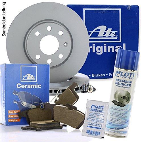 Preisvergleich Produktbild Original ATE Bremsscheiben vorne + ATE Ceramic Bremsbeläge Keramik Bremsklötze Bremsenset Bremsenkit Komplettset Vorderachse + Bremsenreiniger
