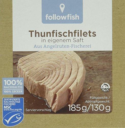 followfish MSC Thunfisch Filets im eigenen Saft, 185 g