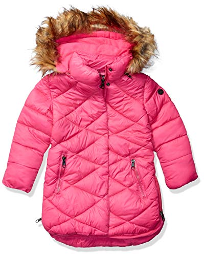 Steve Madden Girls Girls' Big Outerwear Jacket (More Styles Available), Long Barbie Pink, 14/16