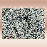COLOROPA Cuadros Pintados a Mano sobre Lienzo Pollock Abstracto Pintura al Óleo 150X110 cm Enrollada - Composición Blanco Negro Azul Y Rojo Sobre Blanco 1948