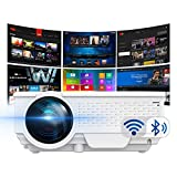 Smart Projector by SinoMetics, with WiFi Bluetooth Apps, Android TV 8.0, Airplay Miracast Supported Video Projector, Portable Video Beam for Multimedia Movie Games - White
