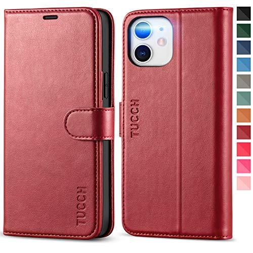 TUCCH Funda iPhone 12 Pro, Funda iPhone 12,Funda de Cuero PU con Bloqueo RFID, Cáscara de TPU, Soporte Plegable, Cierre Magnético, Carcasa Protectora para iPhone 12/12 Pro (6.1'' 2020), Rojo Oscuro
