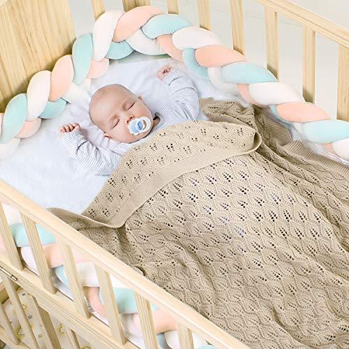 Eurobuy Manta de punto para recién nacidos, manta para bebés en hilo de algodón natural con sábanas envueltas en punto extra suave para niños y niñas (39,4 x 31,5 pulgadas)
