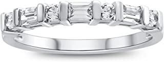 Finejewelers Sterling Silver Baguette and Round Stones Bar Set Anniversary Band Ring