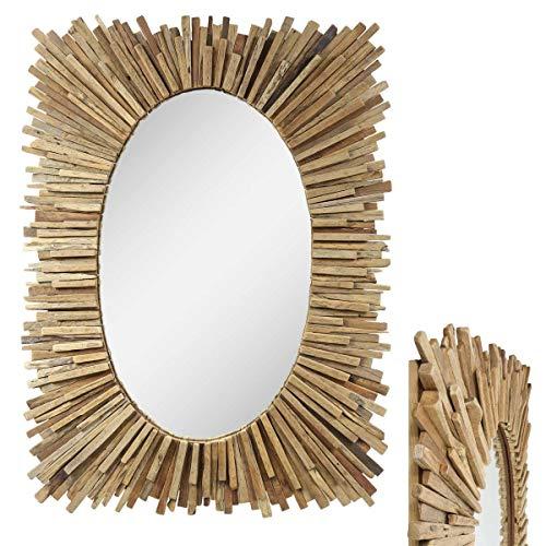 Oriental Galerie Eckiger Spiegel mit Rahmen aus Holzstücken Sonne Massiv Holzrahmen Wandspiegel großer Holz-Spiegel ca. 80-110 cm Nr. 5