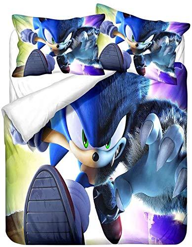 QWAS Hedgehog, Lightning Boy Bedding, ropa de cama infantil, de lujo, de microfibra, funda de edredón supersuave (L6,220 x 240 cm + 50 x 75 cm x 2)