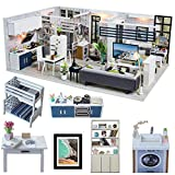 CUTEBEE Dollhouse Miniature with Furniture, DIY DollHouse Kit Plus Dust Proof and Music