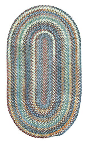 """Capel American Heritage Legacy Blue 0' 24"""" x 0' 48"""" Oval Braided Rug"""