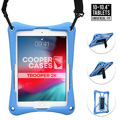 Cooper Trooper 2K Rugged Case for 10-10.4'' inch Tablet   Tough Bumper Protective Drop Shock Proof Kids Holder Carrying Cover Bag (Blue)