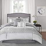 Madison Park Luxury Comforter Set-Traditional Jacquard Design All Season Down Alternative Bedding, Matching Bedskirt, Decorative Pillows, Queen(90'x90'), Bennett, Geometric Grey, 7 Piece