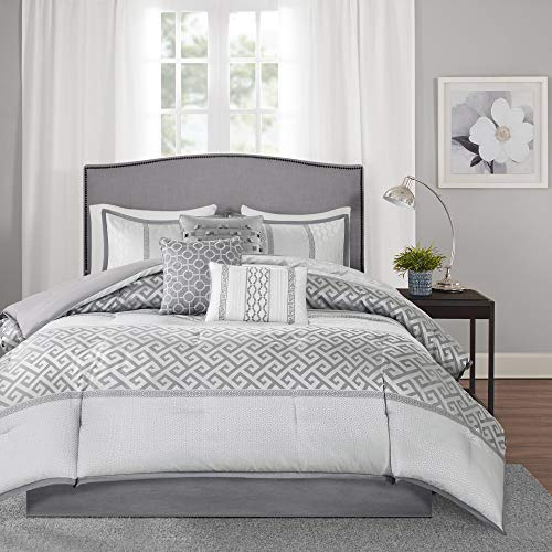 "Madison Park Luxury Comforter Set-Traditional Jacquard Design All Season Down Alternative Bedding, Matching Bedskirt, Decorative Pillows, Queen(90""x90""), Bennett, Geometric Grey, 7 Piece"