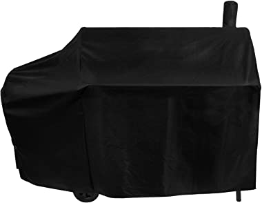 Unicook Offset Smoker Cover, 60 Inch Outdoor Heavy Duty Waterproof Charcoal Grill Cover, Fade & UV Resistant Smokestack BBQ C