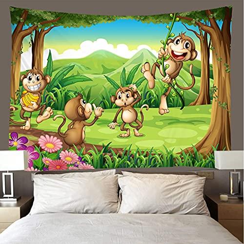 binghongcha Cartoon Monkey Tapestry 150X150Cm Mandala Tapestries Yoga Mat Beach Towel Blanket,Picnic Beach Sheet, Table Cloth, Boho,Decorative Wall Hanging A3189