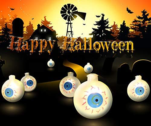 AKDSteel - Cadena de luces LED decorativas de doble cara para Halloween, diseño de ojos de fantasma, color 3 metros, 20 luces con batería de flash