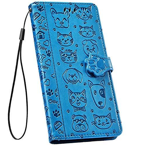 Ysimee Compatible avec Xiaomi Redmi Note 8 Coque Gaufrage Mignon Chat et Chien en Cuir Bookstyle Étui Portefeuille à Rabat Flip Case Couverture avec Fentes de Cartes et Fonction Stand,Bleu