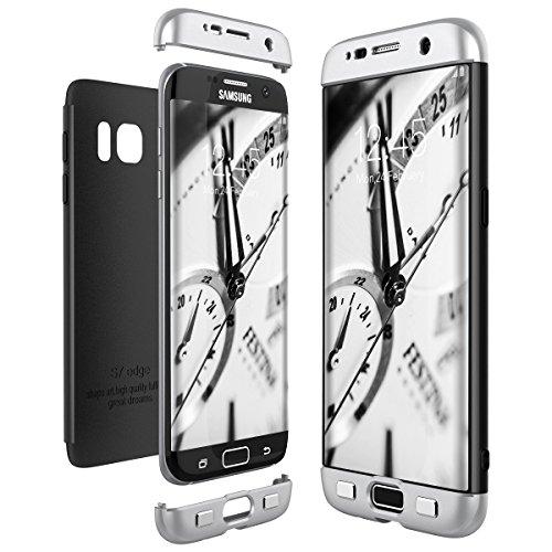 CE-Link Cover per Samsung Galaxy S7 Edge 360 Gradi Full Body Protezione, Custodia S7 Edge Silicone Rigida 3 in 1 Samsung S7 Edge - Argento + Nero