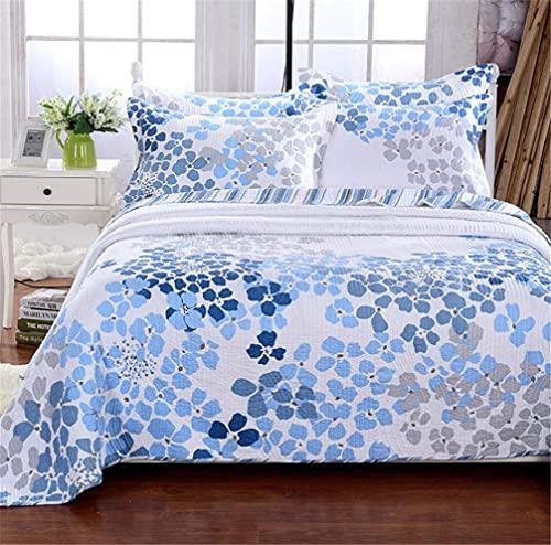 GLXLSBZ Colcha Acolchada 100% algodón de 3 Piezas Colcha edredón Reversible con Estampado Floral Azul para Cama Doble con 2 Fundas de Almohada, 230 x 250 cm