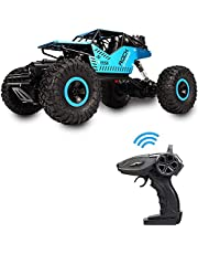 Rover rock Stunt RC Car, 4WD 2.4GHz Remote Control truck with off road tires LED Lights RC drift cars for Boys Birthday (Blue)