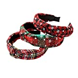 christmas headband with cross knot design red lattice headband with snow print girl's hair hoop for