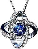 [ラ ブウケ] ブルーサファイア ネックレス 誕生日 Belle Jewelry Tokyo 9月誕生石 ゴージャス ベネチアンチェーン ペンダント CZダイヤモンド (プラチナ仕上げ)