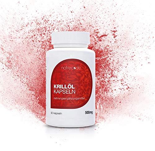 Natrea Krillöl Kapseln | 90 Kapseln ✔ hochdosiertes Omega 3 + DHA + EPA ✔ 500 mg reines Krillöl pro Kapsel