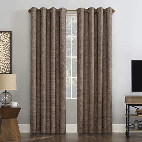 "Sun Zero Harding 2-Pack Burlap Weave Thermal Extreme 100% Blackout Grommet Curtain Panel Pair, 52"" x 96"", Russet"