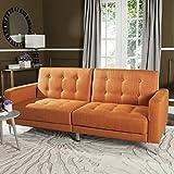 Safavieh Livingston Collection Soho Orange Tufted Foldable Sofa Bed