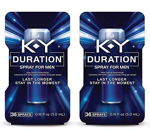 K-Y Duration Male Genital Desensitizer Spray to Last Longer, 36 Sprays/0.16 fl oz Made with delay lube for Men, 2 Pack