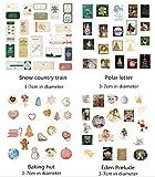 WXGTIN Weihnachten Sticker Bronzing Sticker Bag Vintage Stempel Lebkuchenmann Geschenk Girlande Dekoration Sticker 6, Backhütte