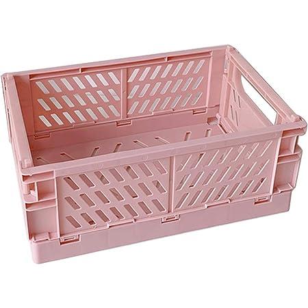 S-TROUBLE Caisse Pliable en Plastique boîte de Rangement Pliante Panier Utilitaire conteneur cosmétique Support de Bureau Usage Domestique