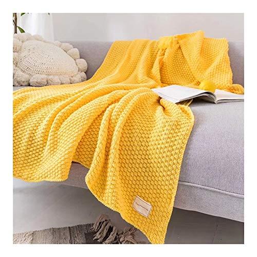 """LYQZ Weich Gestrickte Decke (51\"""" x 67\"""") - Strick weiche gemütliche Acryl-Decke for die im Bett kuschelt auf der Couch oder Sofa, Gelb"""