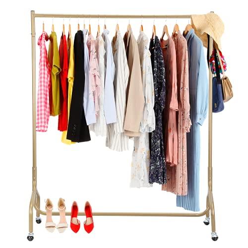 CRAZYLYNX Kleiderständer Kleiderstange auf Rollen, Metal Schwerlast Kleiderständer,Garderobenständer stabil,Schnellaufbau,119 x 140 x 47,5 cm,Golden